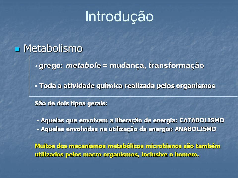 Introdução Metabolismo Metabolismo grego: metabole = mudança, transformação grego: metabole = mudança, transformação Toda a atividade química realizad