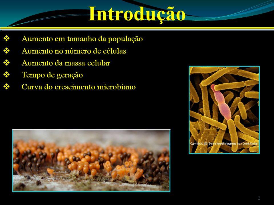 Crescimento Microbiano Nutrientes orgânicos: Aminoácidos Vitaminas Purinas Pirimidinas Nutrientes inorgânicos: Macro Micro 3