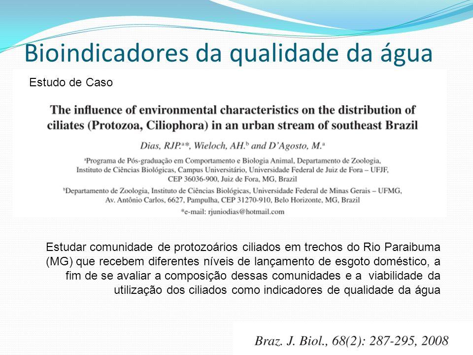 Estudo de Caso Estudar comunidade de protozoários ciliados em trechos do Rio Paraibuma (MG) que recebem diferentes níveis de lançamento de esgoto doméstico, a fim de se avaliar a composição dessas comunidades e a viabilidade da utilização dos ciliados como indicadores de qualidade da água