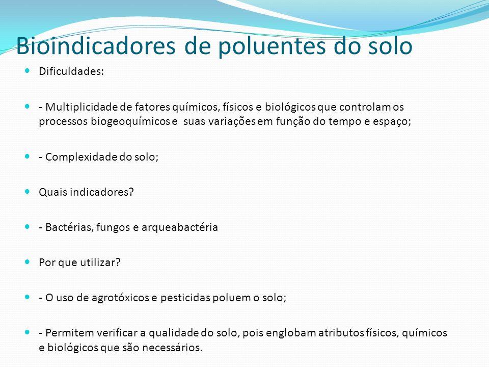 Bioindicadores de poluentes do solo Dificuldades: - Multiplicidade de fatores químicos, físicos e biológicos que controlam os processos biogeoquímicos e suas variações em função do tempo e espaço; - Complexidade do solo; Quais indicadores.
