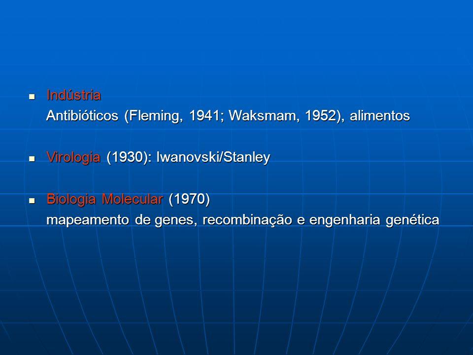 Indústria Indústria Antibióticos (Fleming, 1941; Waksmam, 1952), alimentos Virologia (1930): Iwanovski/Stanley Virologia (1930): Iwanovski/Stanley Bio
