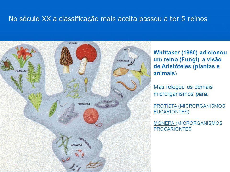 No século XX a classificação mais aceita passou a ter 5 reinos Whittaker (1960) adicionou um reino (Fungi) a visão de Aristóteles (plantas e animais)