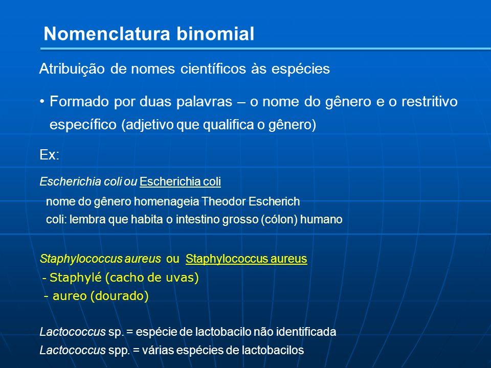 Nomenclatura binomial Atribuição de nomes científicos às espécies Formado por duas palavras – o nome do gênero e o restritivo específico (adjetivo que