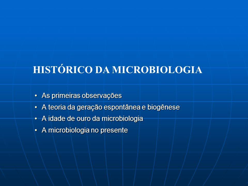EGÍPCIOS: protegiam tumbas com esporos de Aspergillus BÍBLIA: descrição da lepra (Números – 1000 aC), proibição consumo de certas carnes (Deuteronômio – 600 aC) Grécia (~400 aC): Tucídides verificou que os pacientes que sobreviviam à praga ficavam protegidos e podiam cuidar dos doentes China (50 aC): uso de sandálias mofadas para controle de infecções bacterianas nos pés Roma (100 dC): Marcus Varro alertava que diminutas criaturas de certos ambientes entravam no corpo e causavam doenças As primeiras observações: