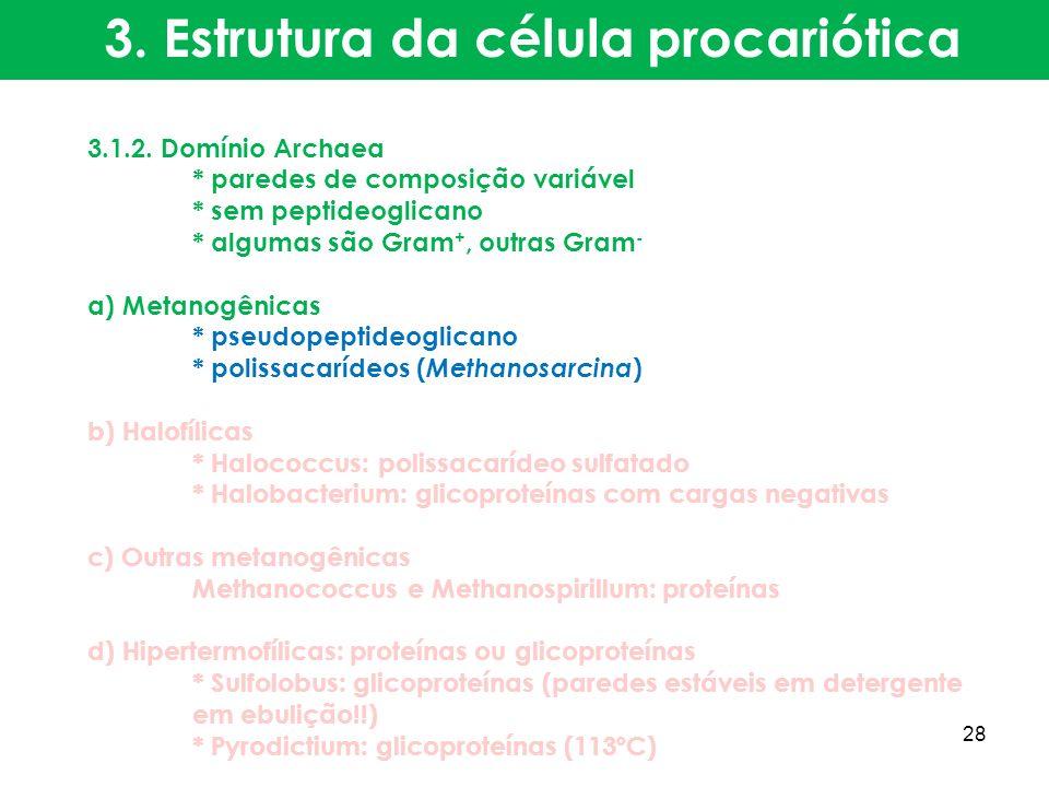 3.1.2. Domínio Archaea * paredes de composição variável * sem peptideoglicano * algumas são Gram +, outras Gram - a) Metanogênicas * pseudopeptideogli