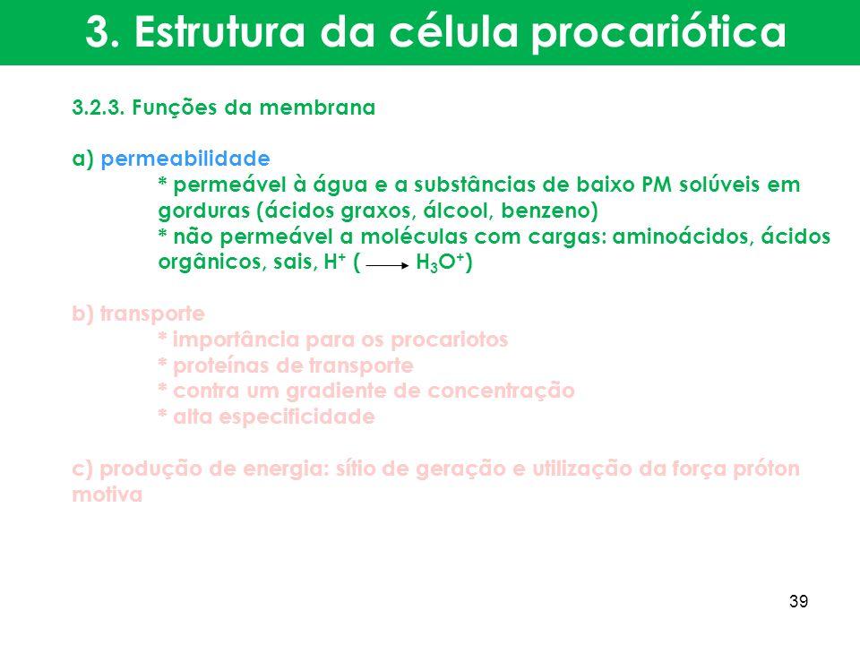 3.2.3. Funções da membrana a) permeabilidade * permeável à água e a substâncias de baixo PM solúveis em gorduras (ácidos graxos, álcool, benzeno) * nã