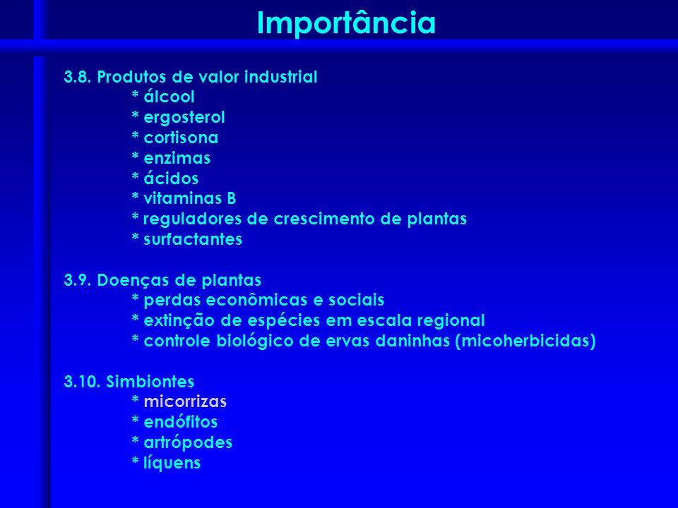 3.8. Produtos de valor industrial * álcool * ergosterol * cortisona * enzimas * ácidos * vitaminas B * reguladores de crescimento de plantas * surfact