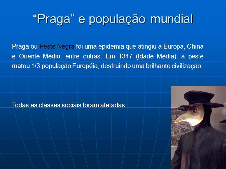 Praga e população mundial. Praga ou Peste Negra foi uma epidemia que atingiu a Europa, China e Oriente Médio, entre outras. Em 1347 (Idade Média), a p