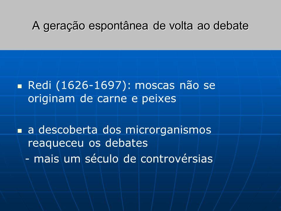 A geração espontânea de volta ao debate Redi (1626-1697): moscas não se originam de carne e peixes a descoberta dos microrganismos reaqueceu os debate