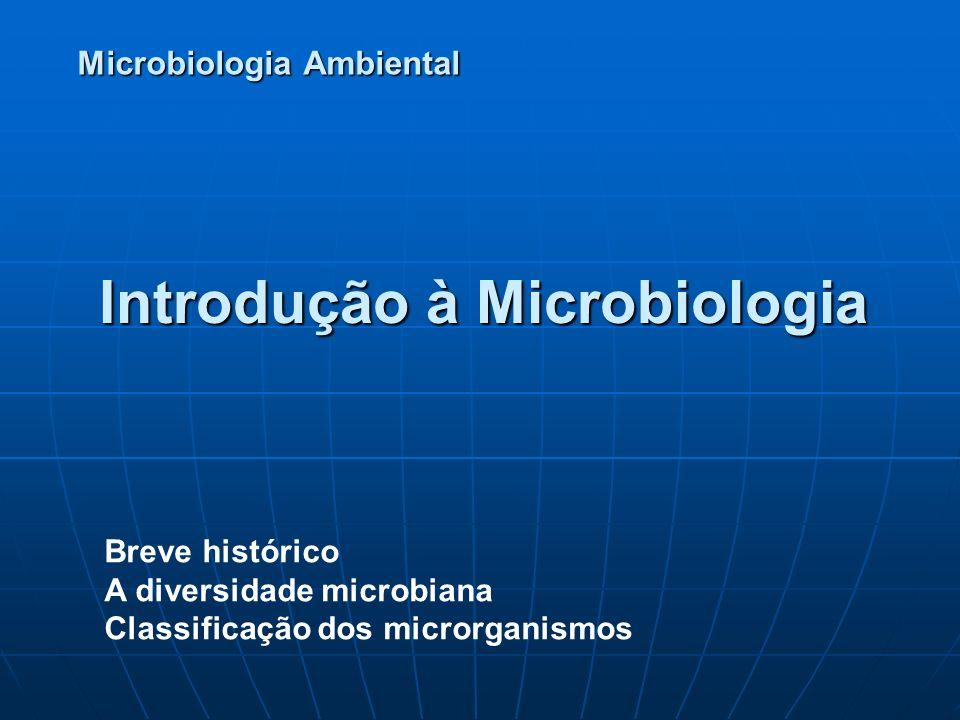 Introdução à Microbiologia Microbiologia Ambiental Breve histórico A diversidade microbiana Classificação dos microrganismos