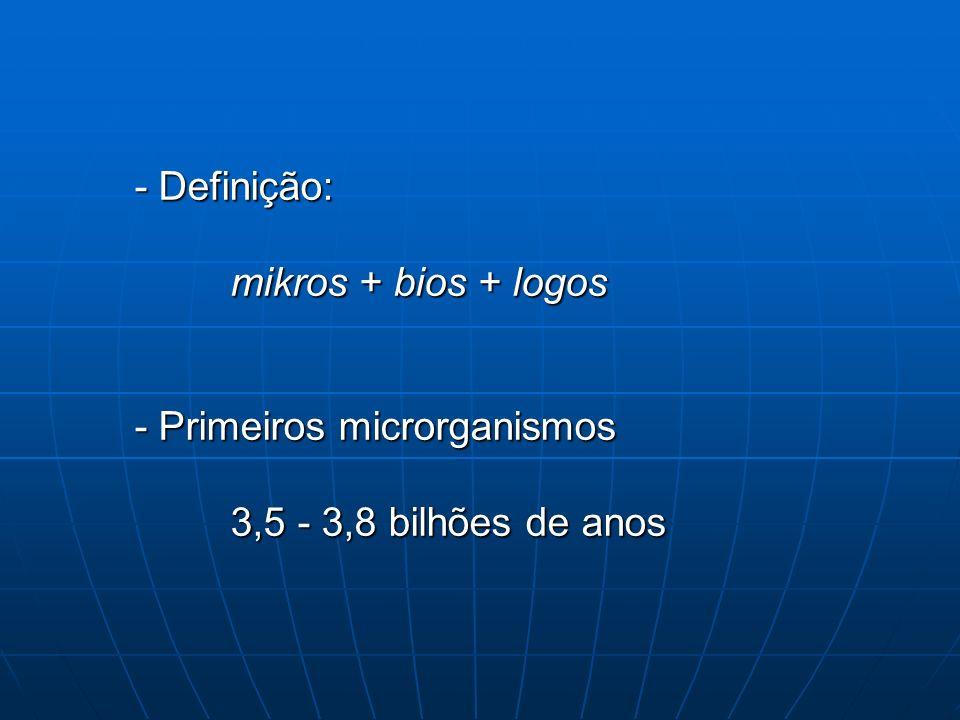 - Definição: mikros + bios + logos - Primeiros microrganismos 3,5 - 3,8 bilhões de anos