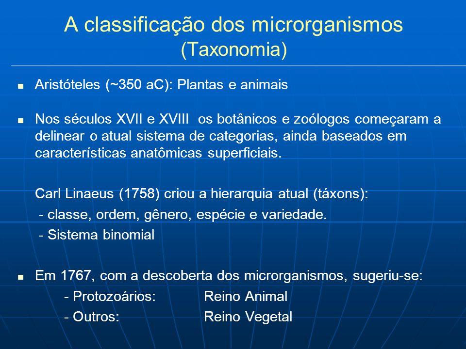 A classificação dos microrganismos (Taxonomia) Aristóteles (~350 aC): Plantas e animais Nos séculos XVII e XVIII os botânicos e zoólogos começaram a delinear o atual sistema de categorias, ainda baseados em características anatômicas superficiais.