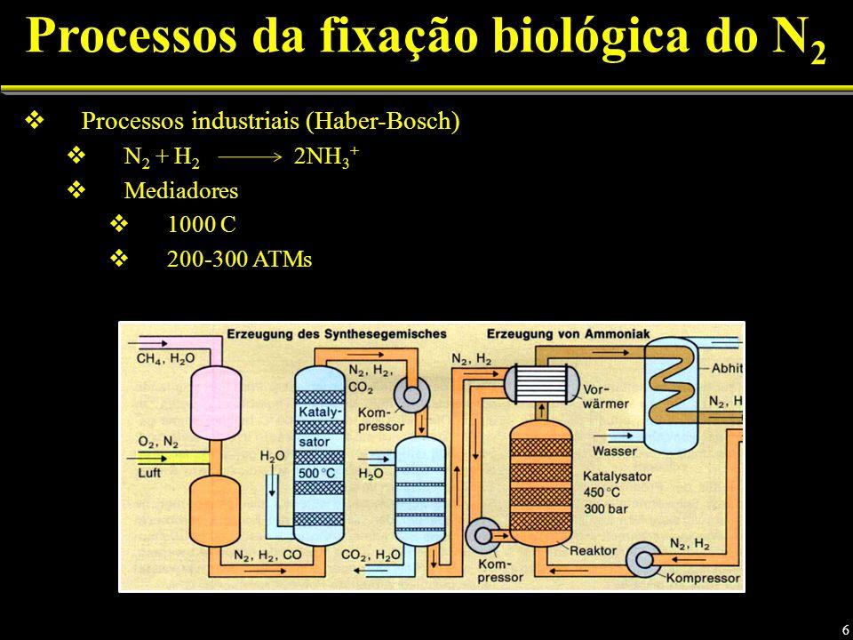 Processos da fixação biológica do N 2 Processos industriais (Haber-Bosch) N 2 + H 2 2NH 3 + Mediadores 1000 C 200-300 ATMs 6