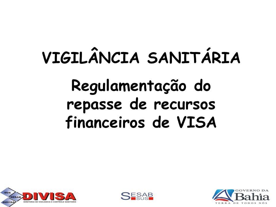 VIGILÂNCIA SANITÁRIA Regulamentação do repasse de recursos financeiros de VISA