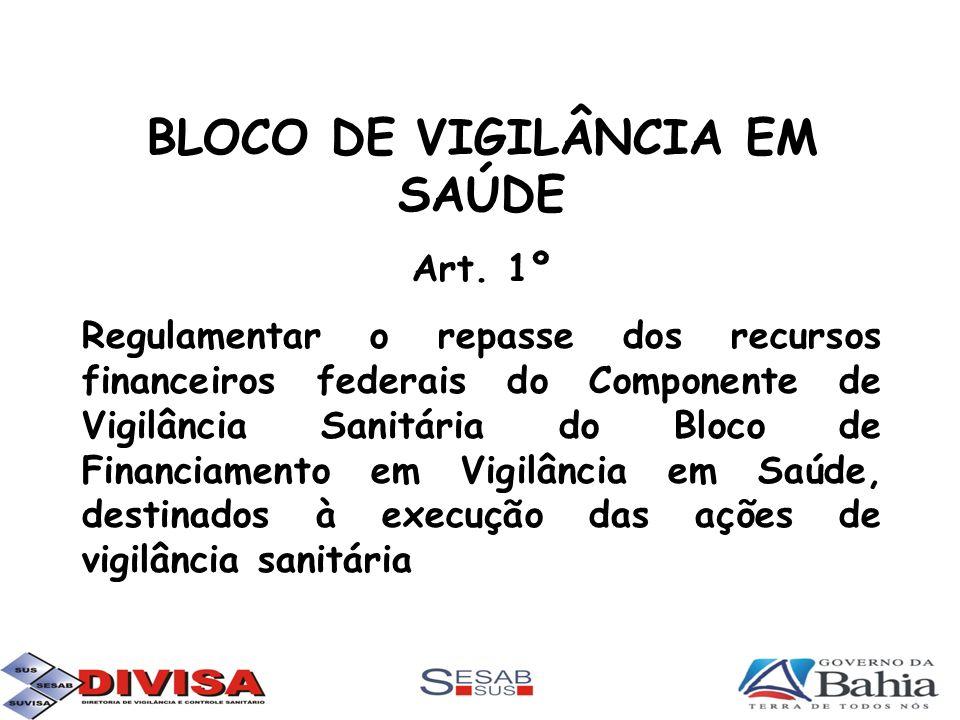 BLOCO DE VIGILÂNCIA EM SAÚDE Art. 1º Regulamentar o repasse dos recursos financeiros federais do Componente de Vigilância Sanitária do Bloco de Financ