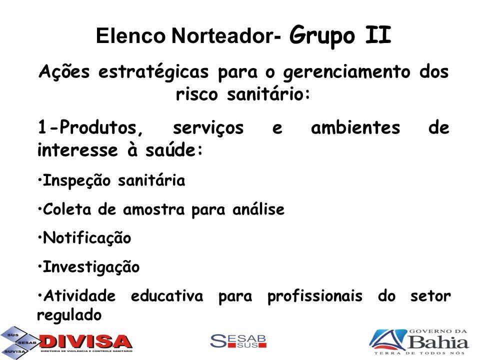Elenco Norteador- Grupo II Ações estratégicas para o gerenciamento dos risco sanitário: 1-Produtos, serviços e ambientes de interesse à saúde: Inspeçã