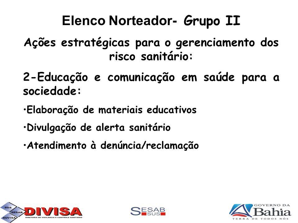 Elenco Norteador- Grupo II Ações estratégicas para o gerenciamento dos risco sanitário: 2-Educação e comunicação em saúde para a sociedade: Elaboração
