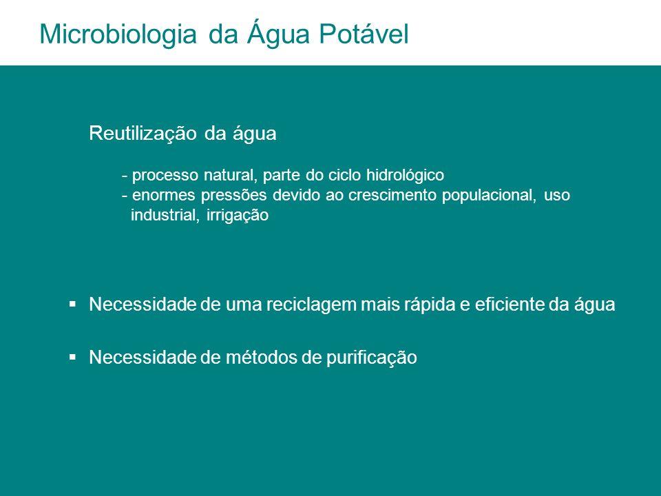 Necessidade de uma reciclagem mais rápida e eficiente da água Necessidade de métodos de purificação Microbiologia da Água Potável Reutilização da água