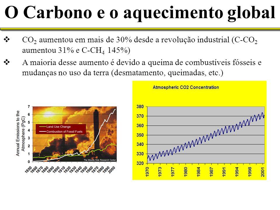 CO 2 aumentou em mais de 30% desde a revolução industrial (C-CO 2 aumentou 31% e C-CH 4 145%) A maioria desse aumento é devido a queima de combustívei