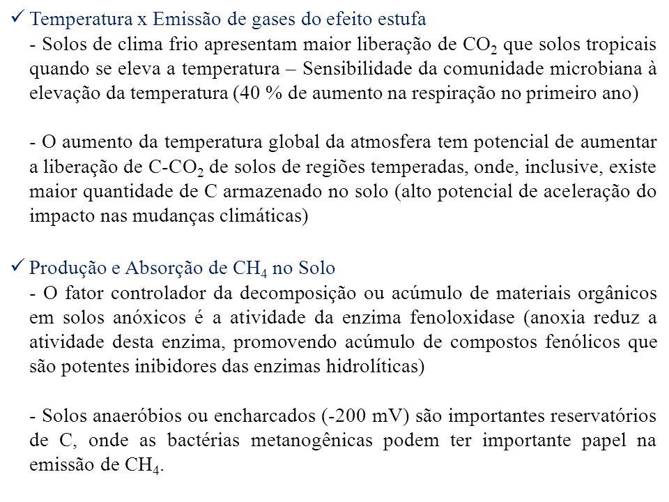 Temperatura x Emissão de gases do efeito estufa - Solos de clima frio apresentam maior liberação de CO 2 que solos tropicais quando se eleva a tempera