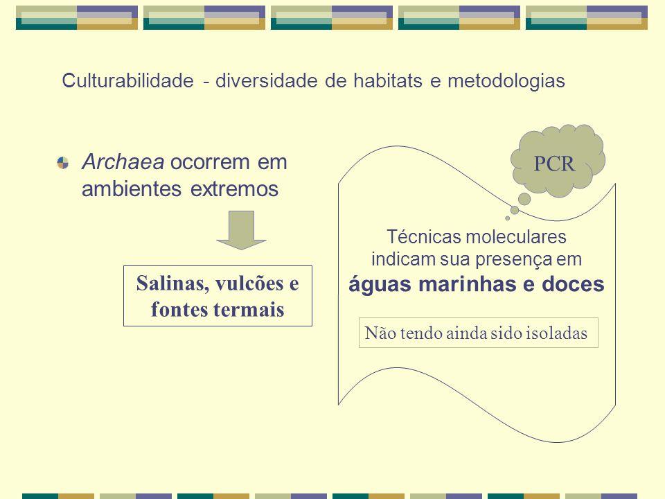 Culturabilidade - diversidade de habitats e metodologias Archaea ocorrem em ambientes extremos Salinas, vulcões e fontes termais Técnicas moleculares indicam sua presença em águas marinhas e doces Não tendo ainda sido isoladas PCR