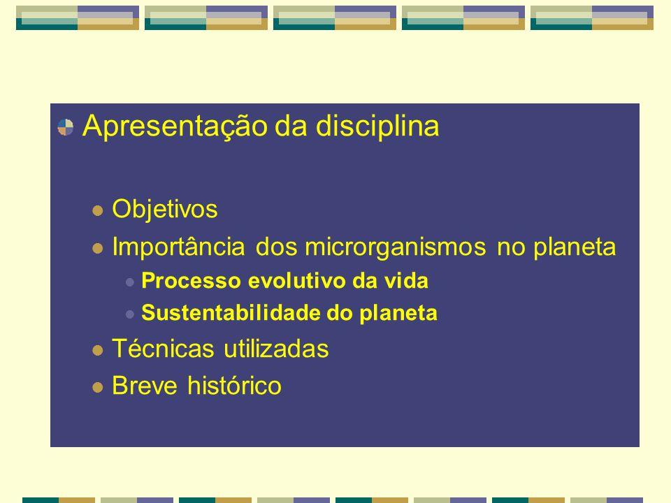 Apresentação da disciplina Objetivos Importância dos microrganismos no planeta Processo evolutivo da vida Sustentabilidade do planeta Técnicas utiliza