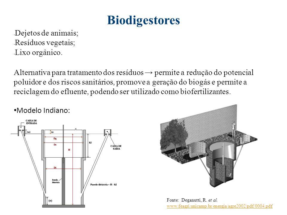 Biodigestores - Dejetos de animais; - Resíduos vegetais; - Lixo orgânico. Alternativa para tratamento dos resíduos permite a redução do potencial polu