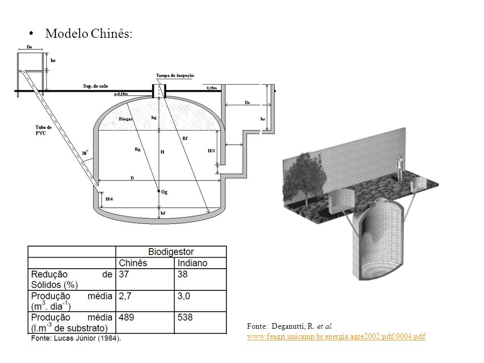 Modelo Chinês: Fonte: Deganutti, R. et al. www.feagri.unicamp.br/energia/agre2002/pdf/0004.pdf