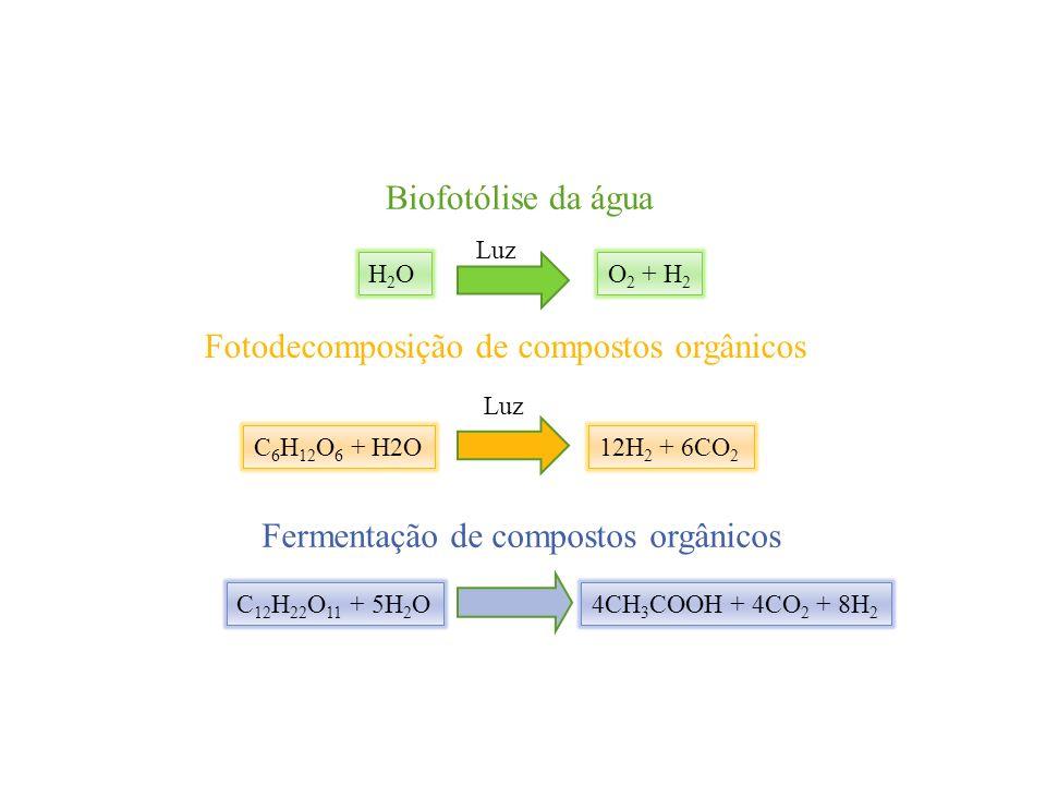 Biofotólise da água H2OH2O Luz O 2 + H 2 Fotodecomposição de compostos orgânicos C 6 H 12 O 6 + H2O Luz 12H 2 + 6CO 2 Fermentação de compostos orgânic
