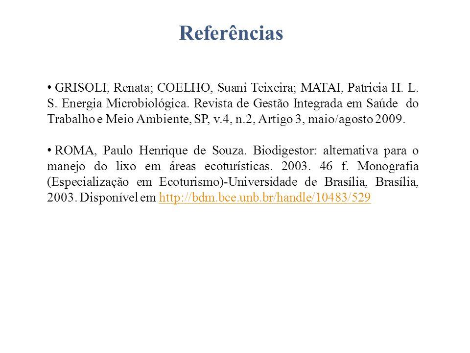 Referências GRISOLI, Renata; COELHO, Suani Teixeira; MATAI, Patricia H. L. S. Energia Microbiológica. Revista de Gestão Integrada em Saúde do Trabalho