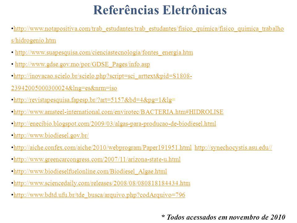 Referências Eletrônicas http://www.notapositiva.com/trab_estudantes/trab_estudantes/fisico_quimica/fisico_quimica_trabalho s/hidrogenio.htm http://www