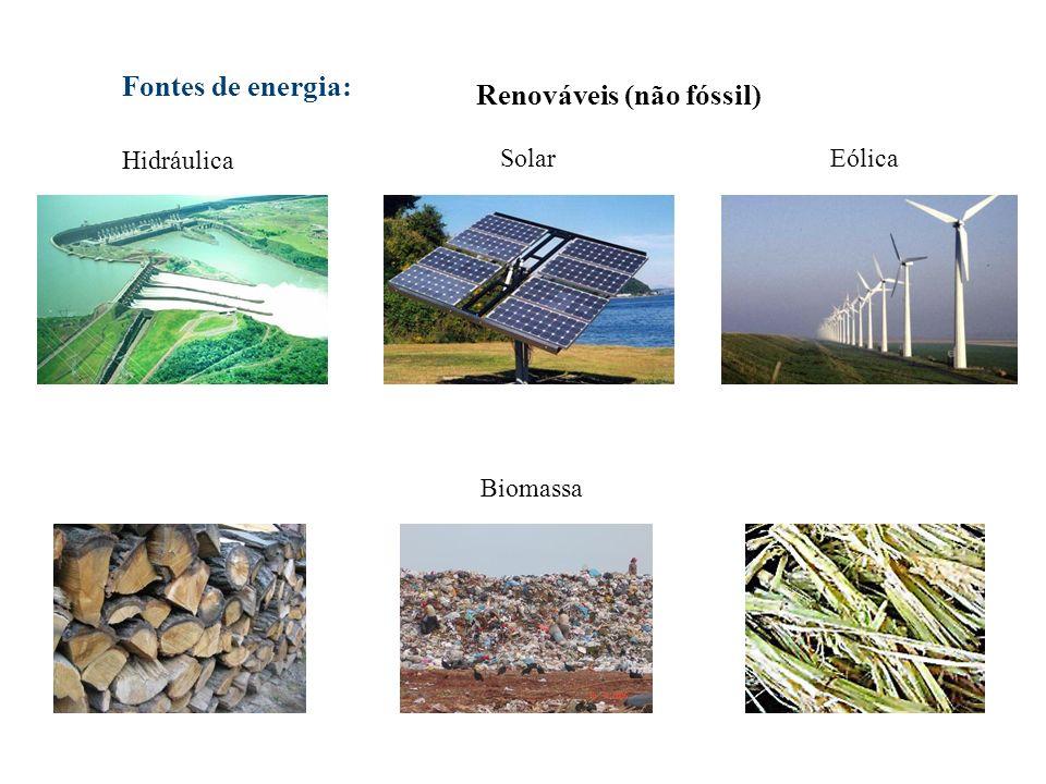 Renováveis (não fóssil) Biomassa Fontes de energia: Hidráulica SolarEólica