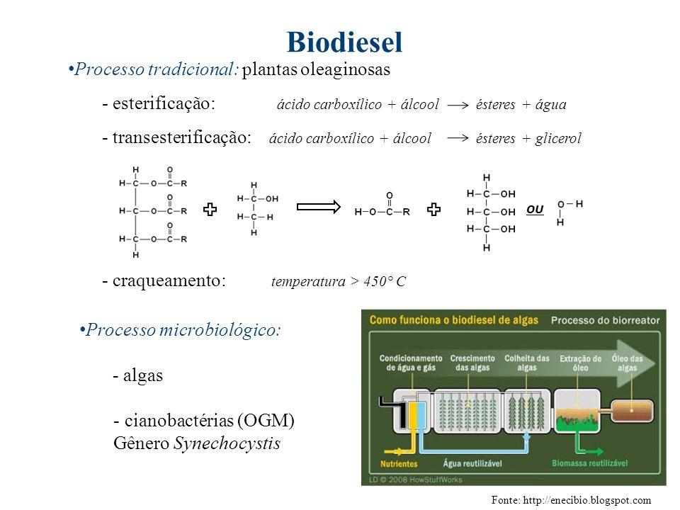 Biodiesel Processo tradicional: plantas oleaginosas - esterificação: ácido carboxílico + álcoolésteres + água - transesterificação: ácido carboxílico