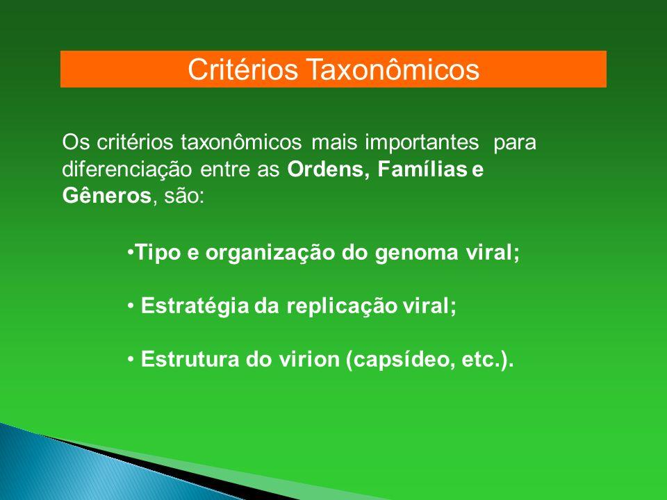 Os critérios taxonômicos mais importantes para diferenciação entre as Ordens, Famílias e Gêneros, são: Tipo e organização do genoma viral; Estratégia