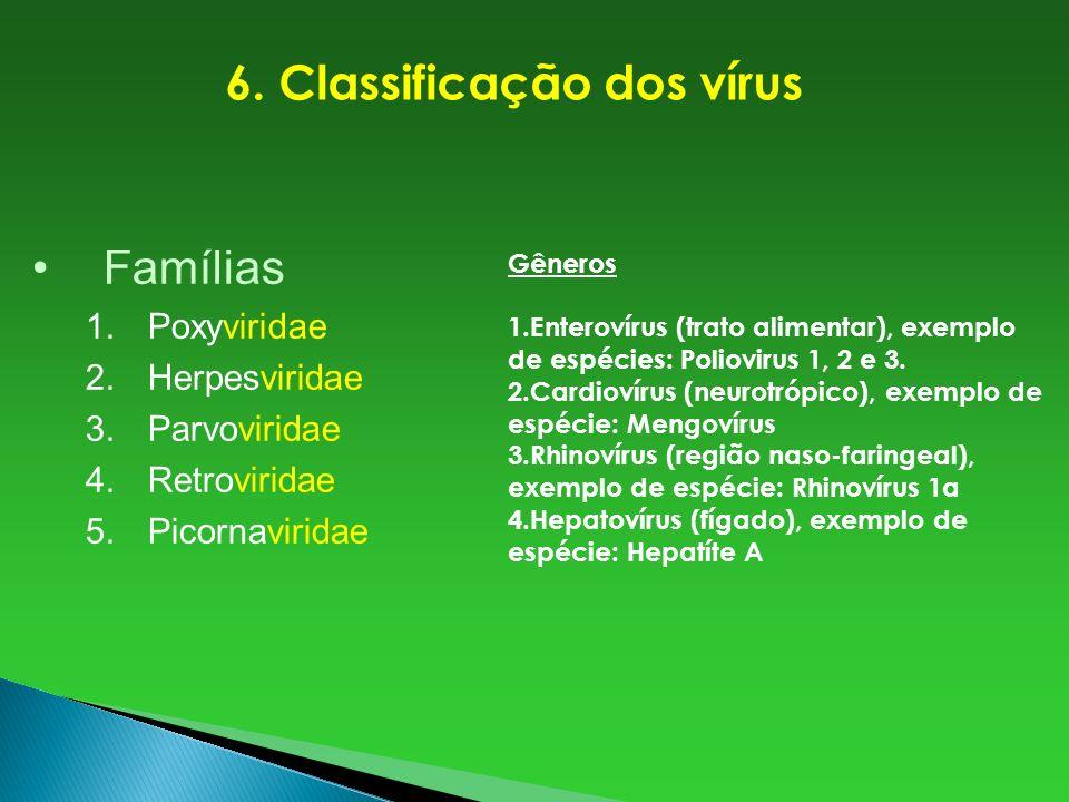 Famílias 1.Poxyviridae 2.Herpesviridae 3.Parvoviridae 4.Retroviridae 5.Picornaviridae 6. Classificação dos vírus Gêneros 1.Enterovírus (trato alimenta