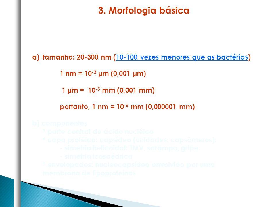 a)tamanho: 20-300 nm (10-100 vezes menores que as bactérias) 1 nm = 10 -3 μm (0,001 μm) 1 μm = 10 -3 mm (0,001 mm) portanto, 1 nm = 10 -6 mm (0,000001