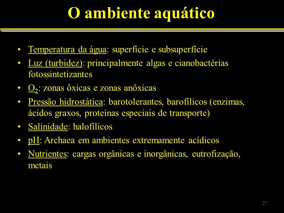 Temperatura da água: superfície e subsuperfície Luz (turbidez): principalmente algas e cianobactérias fotossintetizantes O 2 : zonas ôxicas e zonas an