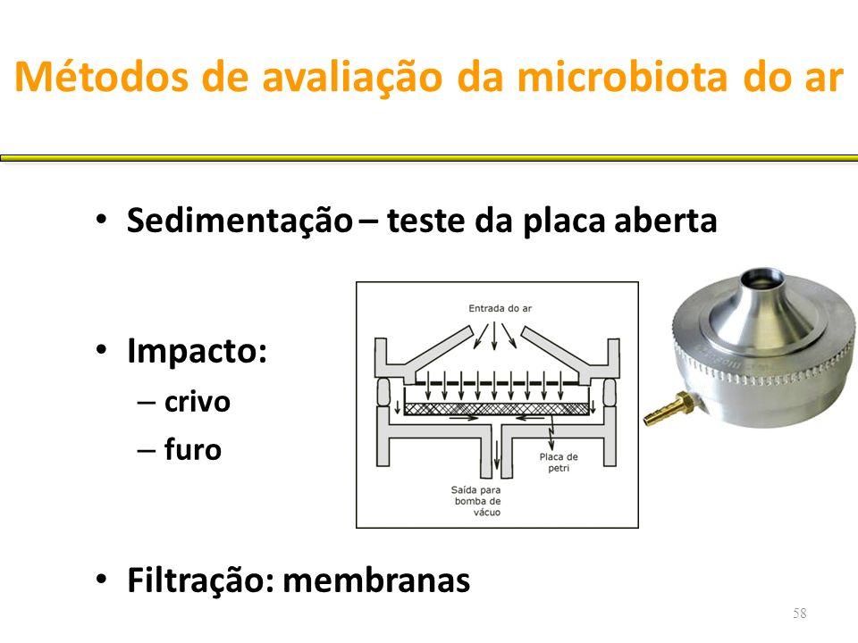 Métodos de avaliação da microbiota do ar Sedimentação – teste da placa aberta Impacto: – crivo – furo Filtração: membranas 58