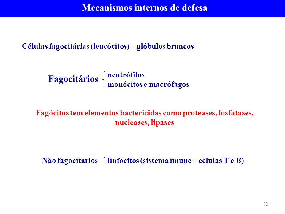 Células fagocitárias (leucócitos) – glóbulos brancos neutrófilos monócitos e macrófagos Fagócitos tem elementos bactericidas como proteases, fosfatase