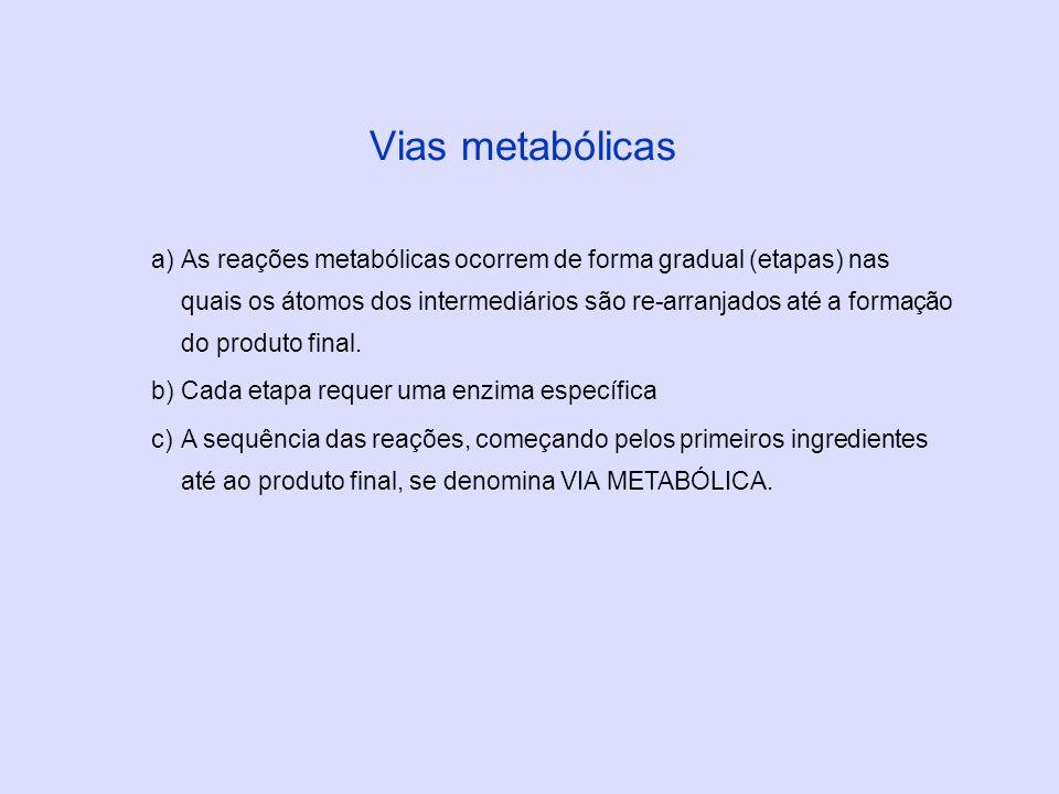 a)As reações metabólicas ocorrem de forma gradual (etapas) nas quais os átomos dos intermediários são re-arranjados até a formação do produto final. b