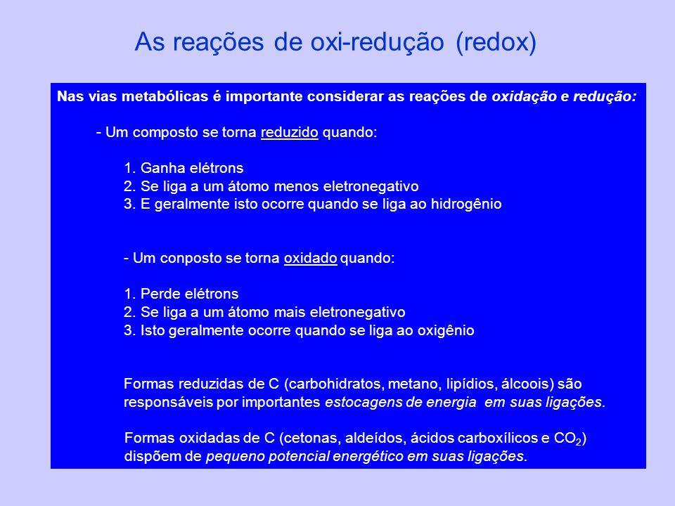 As reações de oxi-redução (redox) Nas vias metabólicas é importante considerar as reações de oxidação e redução: - Um composto se torna reduzido quand