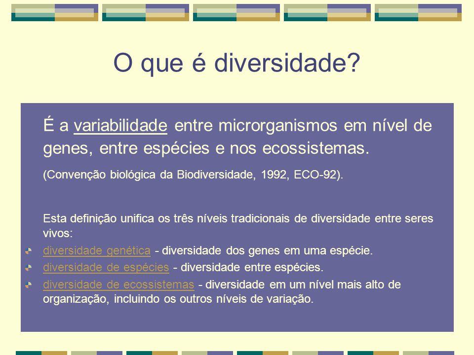 O que é diversidade? É a variabilidade entre microrganismos em nível de genes, entre espécies e nos ecossistemas. (Convenção biológica da Biodiversida