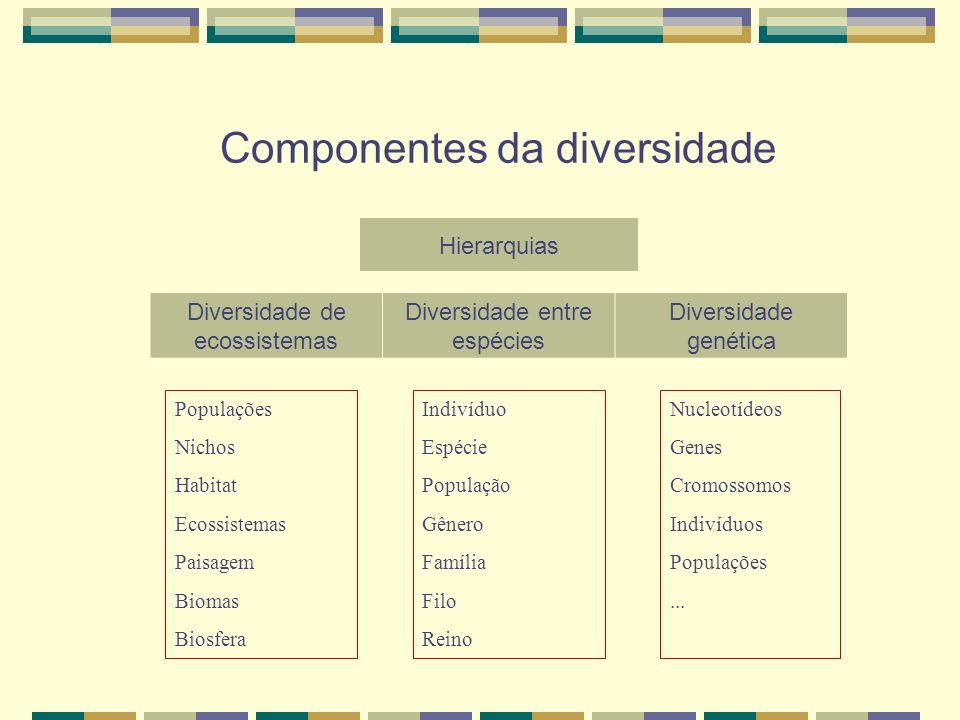 Componentes da diversidade Populações Nichos Habitat Ecossistemas Paisagem Biomas Biosfera Nucleotídeos Genes Cromossomos Indivíduos Populações... Ind
