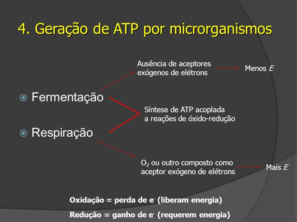Fermentação Respiração 4. Geração de ATP por microrganismos Síntese de ATP acoplada a reações de óxido-redução Ausência de aceptores exógenos de elétr