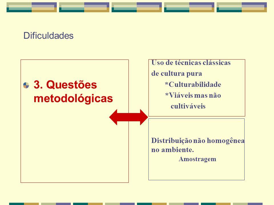Dificuldades 3. Questões metodológicas Uso de técnicas clássicas de cultura pura *Culturabilidade *Viáveis mas não cultiváveis Distribuição não homogê