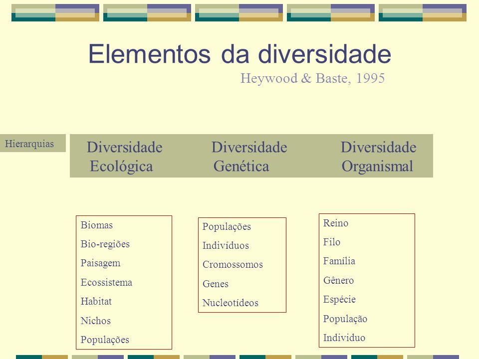 Elementos da diversidade Diversidade Diversidade Diversidade Ecológica Genética Organismal Biomas Bio-regiões Paisagem Ecossistema Habitat Nichos Popu