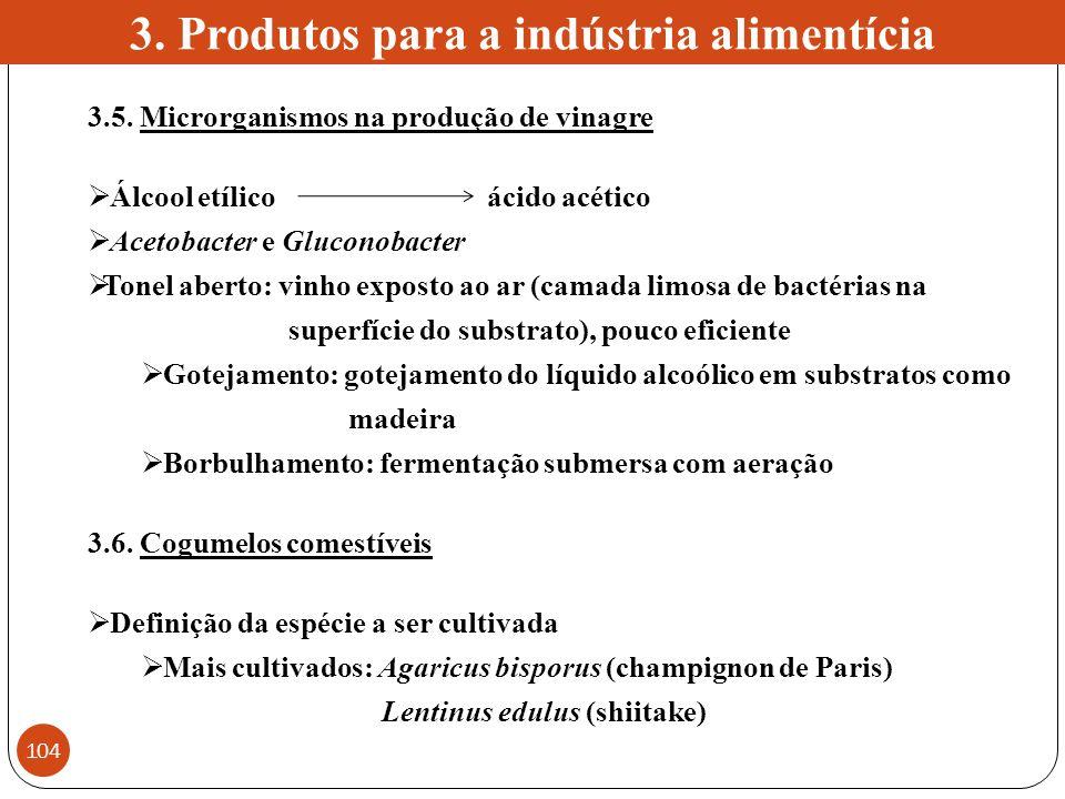 3. Produtos para a indústria alimentícia 3.5. Microrganismos na produção de vinagre Álcool etílico ácido acético Acetobacter e Gluconobacter Tonel abe