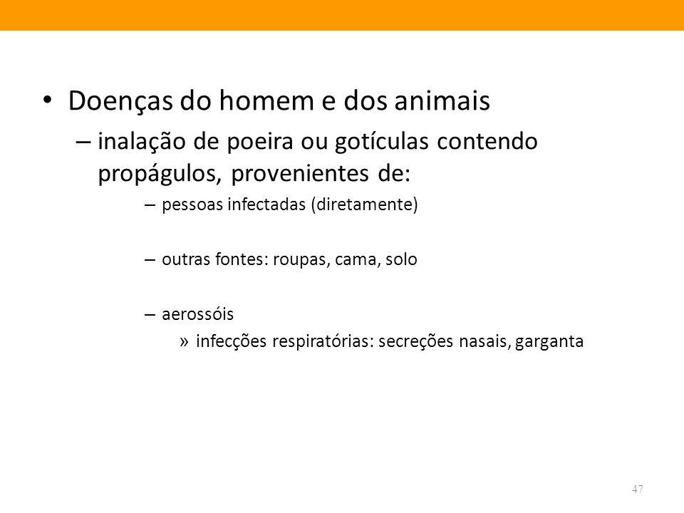 Doenças do homem e dos animais – inalação de poeira ou gotículas contendo propágulos, provenientes de: – pessoas infectadas (diretamente) – outras fon