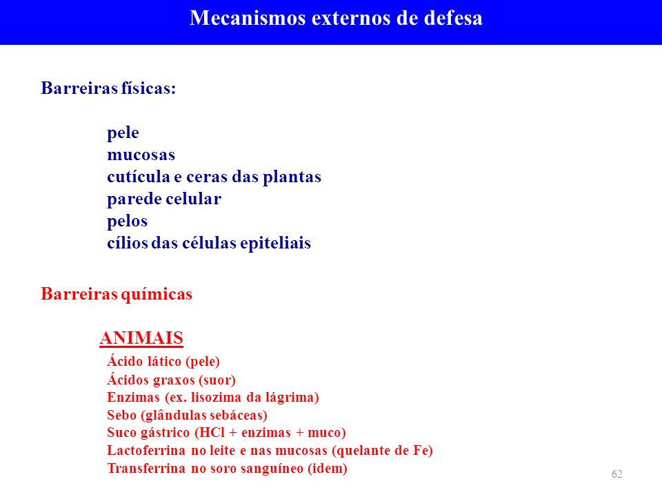 Barreiras físicas: pele mucosas cutícula e ceras das plantas parede celular pelos cílios das células epiteliais Mecanismos externos de defesa 62 Barre