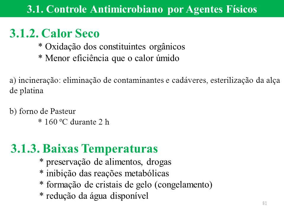 3.1.2. Calor Seco * Oxidação dos constituintes orgânicos * Menor eficiência que o calor úmido a) incineração: eliminação de contaminantes e cadáveres,